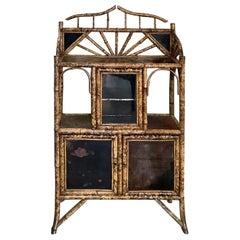 Late 19th Century English Burnt Bamboo Cabinet