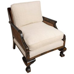 Late 19th Century English Chinoiserie Chair with Caned Sides and Back