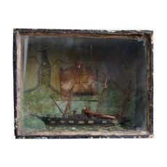 Late 19th Century English Folk art Ship Diorama