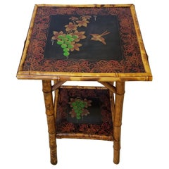 Late 19th Century English Hand Painted Bamboo Side Table