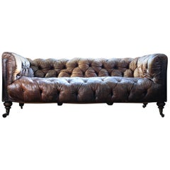 Late 19th Century English Howard and Sons Brown Leather Chesterfield Sofa, 1880