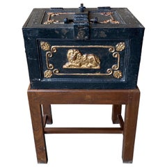 Late 19th Century English Iron Strongbox on Stand as a Table with Key