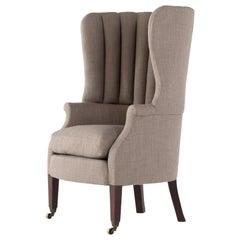 Late 19th Century English Mahogany Barrel Back Wing Chair