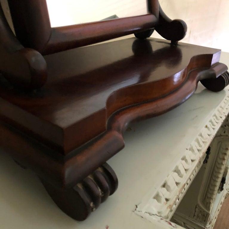 Carved Late 19th Century, English Mahogany Gentleman's Shaving Mirror