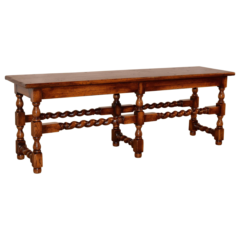 Late 19th Century English Oak Bench