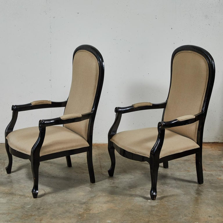 Late Victorian Late 19th Century English Pair of Ebonized Armchairs For Sale