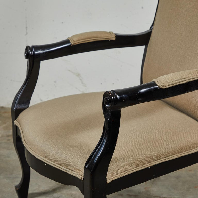 Late 19th Century English Pair of Ebonized Armchairs For Sale 1