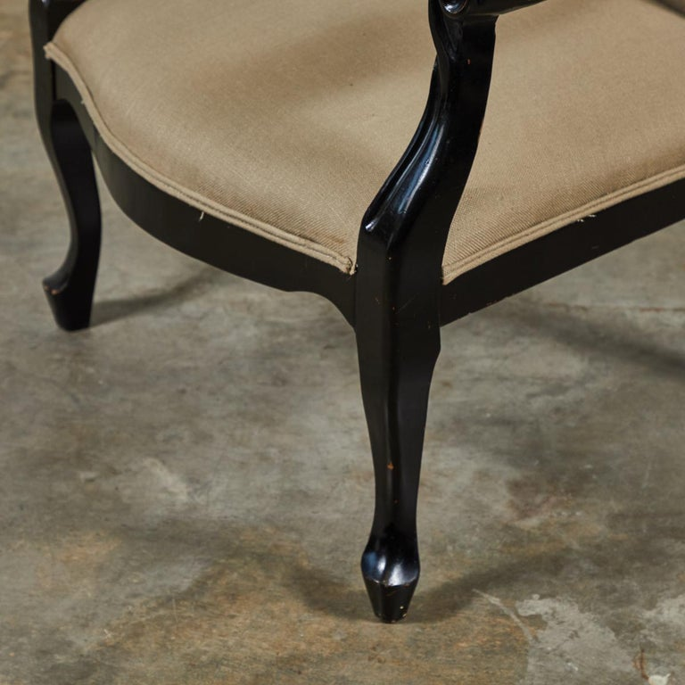 Late 19th Century English Pair of Ebonized Armchairs For Sale 2