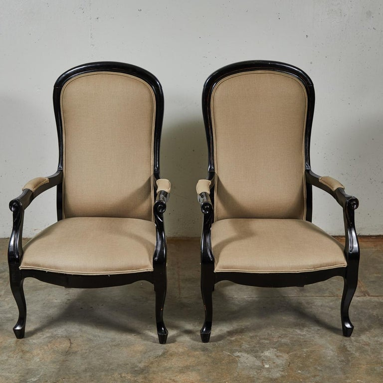 Late 19th Century English Pair of Ebonized Armchairs For Sale 3