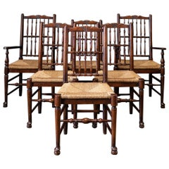 Late 19th Century English Set of 6 Oak and Rush Dining Chairs