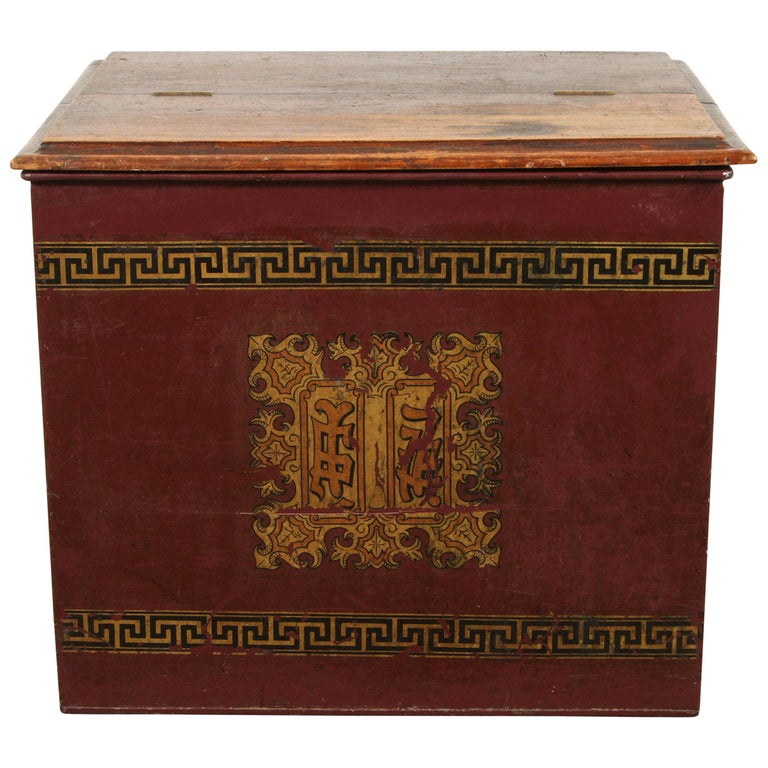 Late 19th Century English Tin and Wood Storage Box For Sale