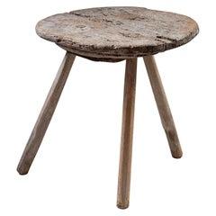 Late 19th Century English Tripod Cricket Table, Rustic Wood