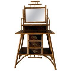 Late 19th Century English Victorian Bamboo Three-Drawer Vanity with Mirror