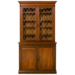 Late 19th Century English Walnut Glass Door Bookcase