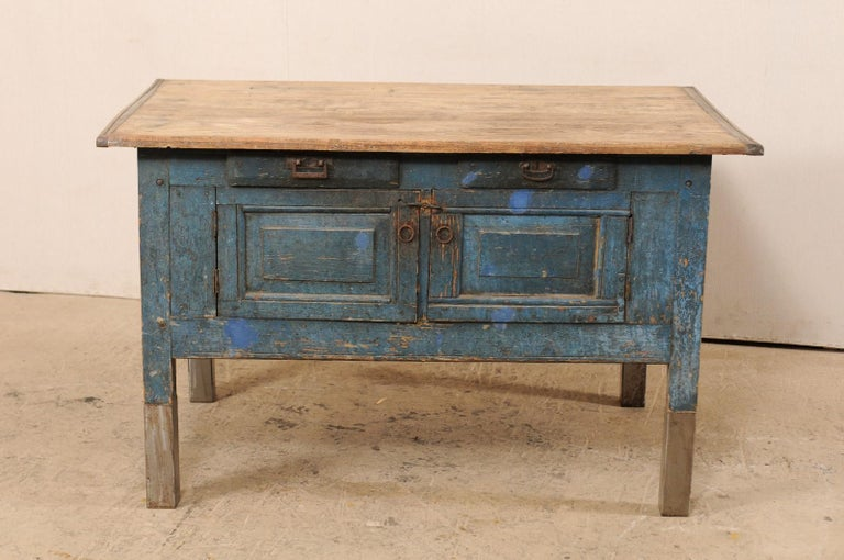 Primitive Late 19th Century European Table Top Cabinet with Great Storage