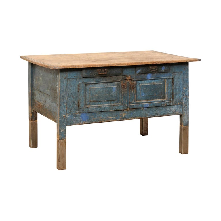 Late 19th Century European Table Top Cabinet with Great Storage