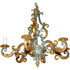 Late 19th Century  French Wrought Iron Chandelier
