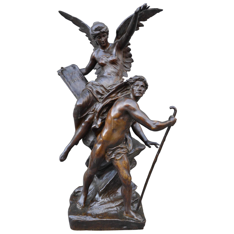 "Late 19th Century Figural Bronze Statue Titled ""Vox Progressi"" by Emile Picault"