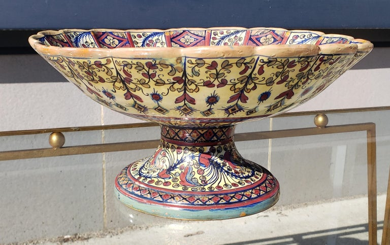 Late 19th century footed Urbino ware bowl attributed to Alfredo Santarelli. Hand thrown and Majolica glazed with lustre.