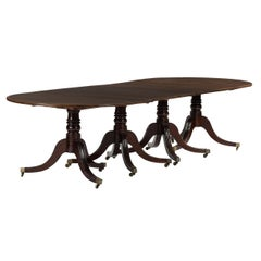 Late 19th Century Four Pedestal Regency Style Dining Table