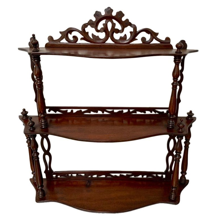 Late 19th Century Freestanding or Hanging Shelves in Mahogany For Sale