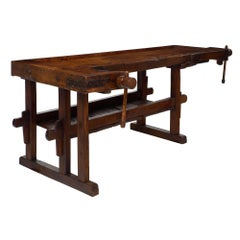 Late 19th Century French Alps Antique Workbench