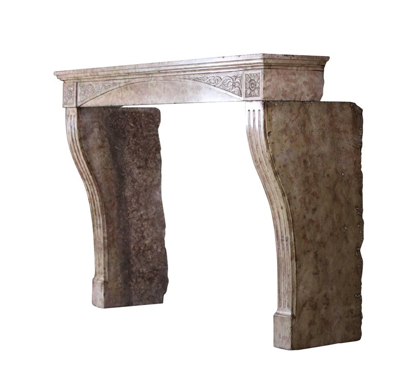 This 19th century fireplace mantel (fireplace) is from the Burgundy region near Clos Vougeot in France. It has very rich and exquisite carving making it quite distinctive. A fine Art Nouveau carving. Measures: 161 cm EW 63,39