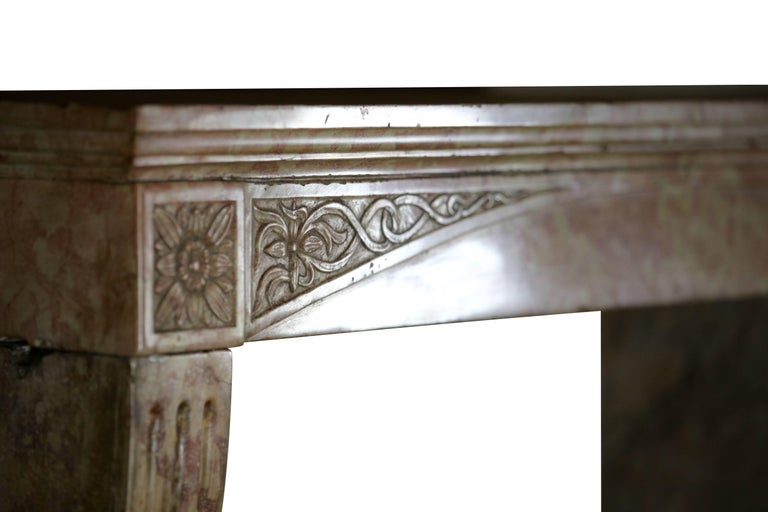 Carved Late 19th Century French Antique Fireplace Surround in Marble Stone For Sale