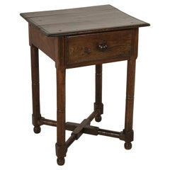 Late 19th Century French Artisan Made Oak Side table or End Table with Drawer