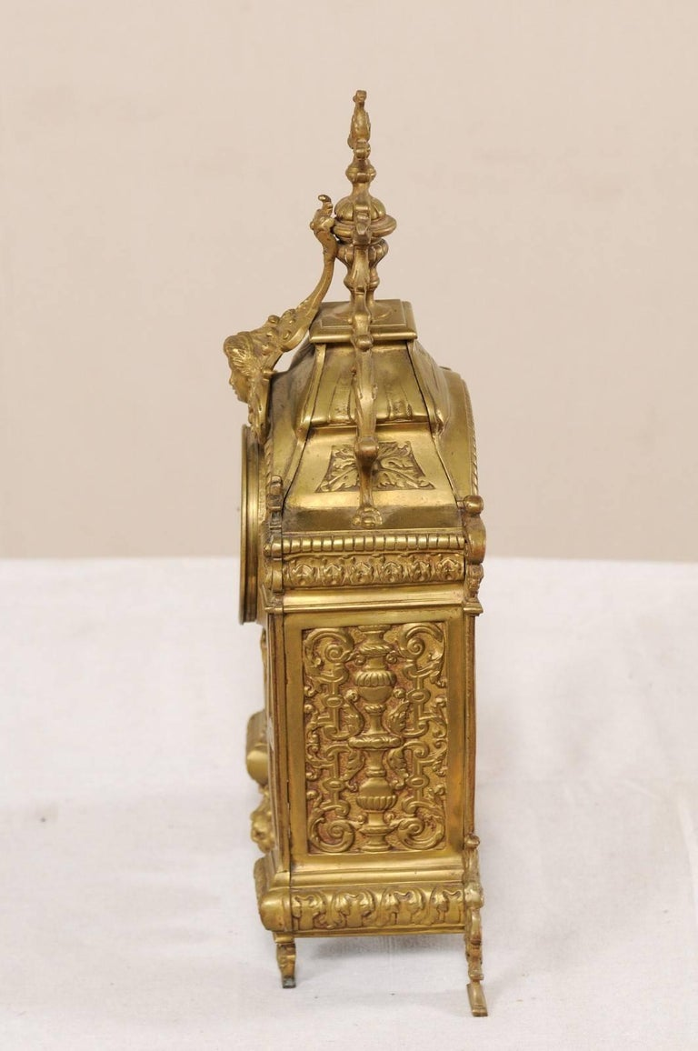 Late 19th Century French Beautifully Ornate Brass Freestanding Mantel Clock For Sale 7