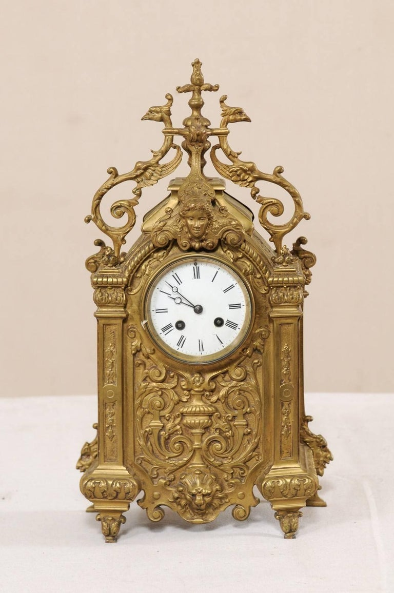 Late 19th Century French Beautifully Ornate Brass Freestanding Mantel Clock In Good Condition For Sale In Atlanta, GA