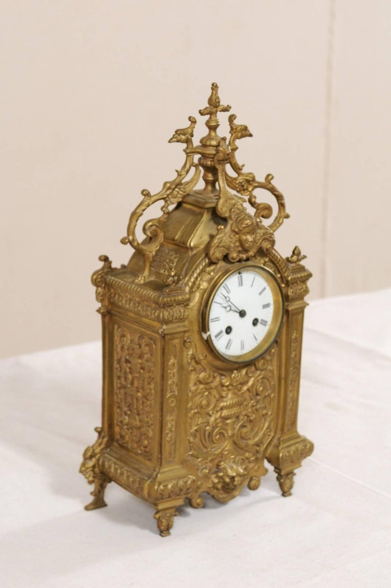 Metal Late 19th Century French Beautifully Ornate Brass Freestanding Mantel Clock For Sale