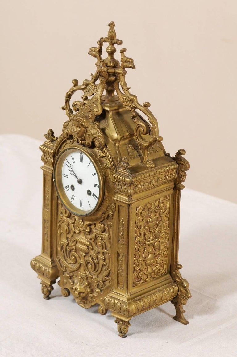 Late 19th Century French Beautifully Ornate Brass Freestanding Mantel Clock For Sale 1