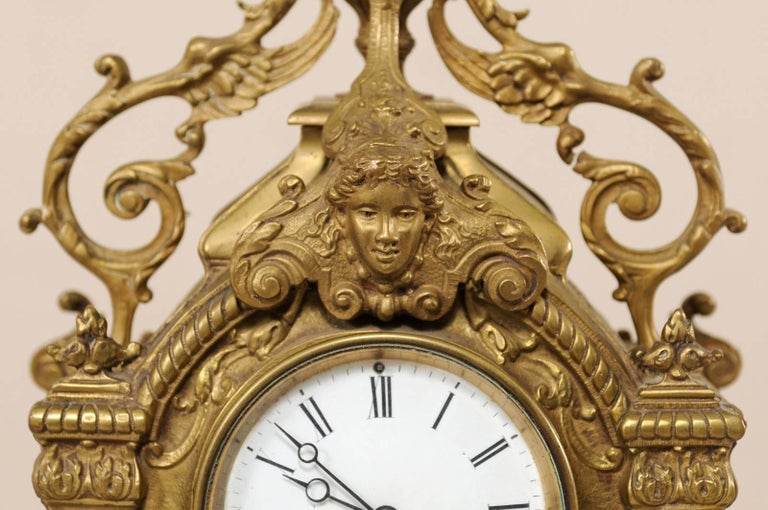 Late 19th Century French Beautifully Ornate Brass Freestanding Mantel Clock For Sale 2