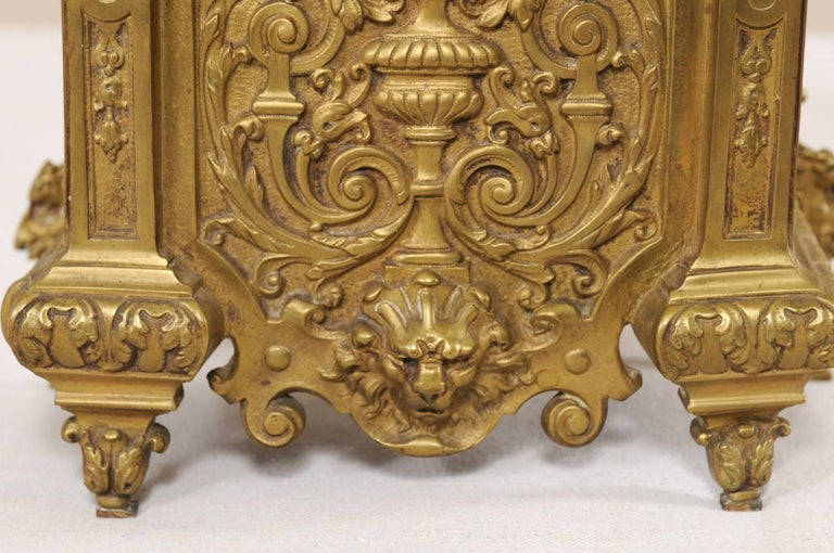 Late 19th Century French Beautifully Ornate Brass Freestanding Mantel Clock For Sale 3