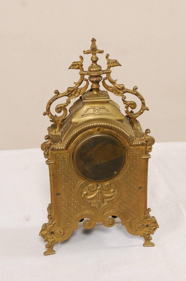 Late 19th Century French Beautifully Ornate Brass Freestanding Mantel Clock For Sale 5