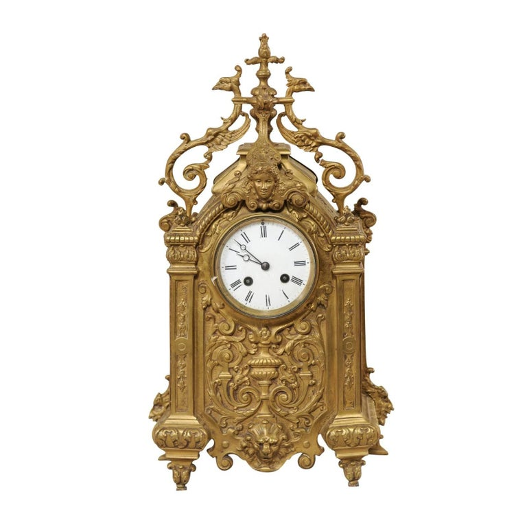 Late 19th Century French Beautifully Ornate Brass Freestanding Mantel Clock For Sale