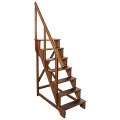 Late 19th Century French Beech Wood Library Ladder or Steps with Hand Rail