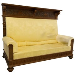 Late 19th Century French Bench Provincial Oak High Back, circa 1890