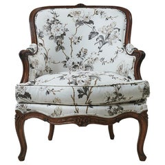 Late 19th Century French Bergère Upholstered in Schumacher Fabric