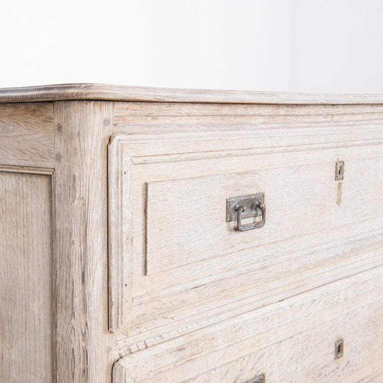 Late 19th Century French Bleached Oak Chest of Drawers For Sale 2