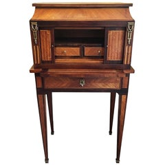 Late 19th Century French Bonheur De Jour with Parquetry Rosewood Inlay