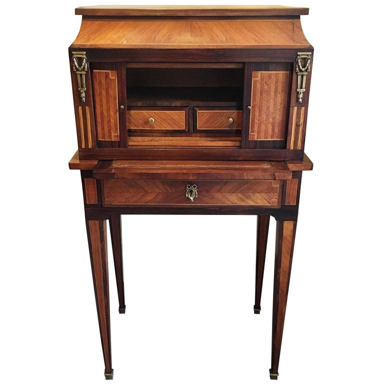 Late 19th Century French Bonheur De Jour with Parquetry Rosewood Inlay For Sale