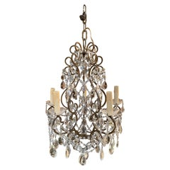 Late 19th Century French Bronze and Crystal Small Scale Chandelier