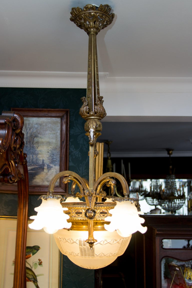 Late 19th Century French Bronze and Glass Five-Light Chandelier For Sale 5