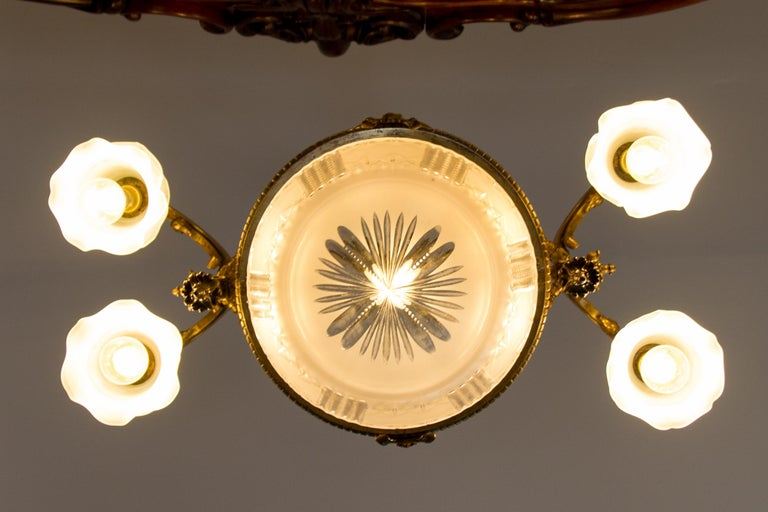 Late 19th Century French Bronze and Glass Five-Light Chandelier For Sale 6