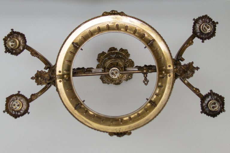 Late 19th Century French Bronze and Glass Five-Light Chandelier For Sale 8