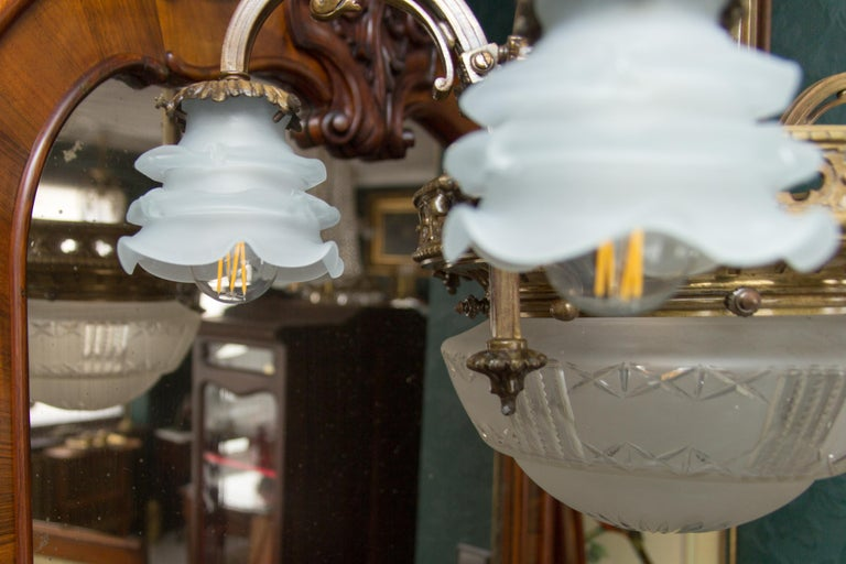Late 19th Century French Bronze and Glass Five-Light Chandelier For Sale 11