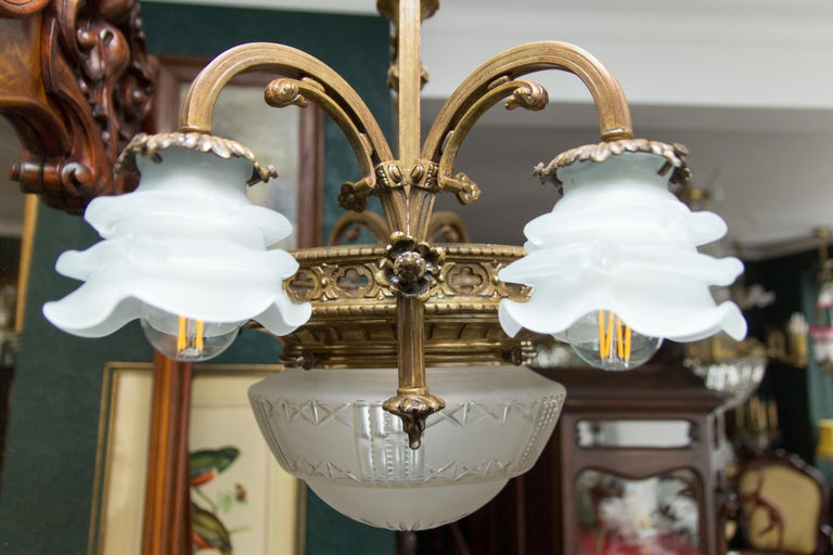 Late 19th Century French Bronze and Glass Five-Light Chandelier For Sale 13
