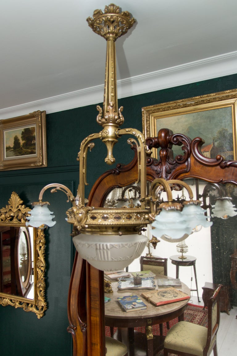 Late 19th Century French Bronze and Glass Five-Light Chandelier For Sale 14